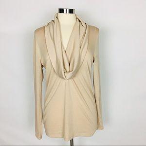 ANN TAYLOR | Cowl Neck Nude Long Sleeve Top Blouse
